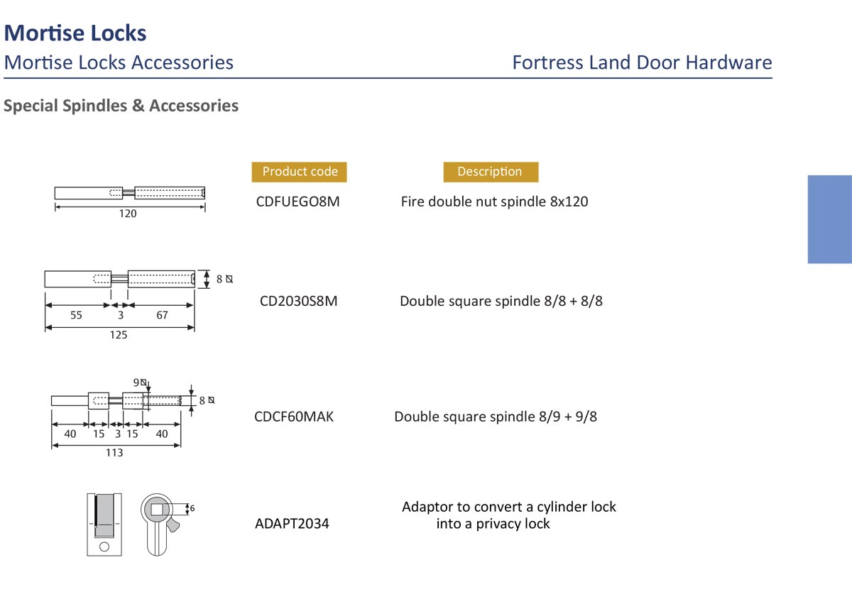 mortise lock spindle, mortise split spindle, square spindle, double spindle, spindle adapter, lever handle spindle, door lock spindle, Fortress Land Security Company, Yangon, Myanmar