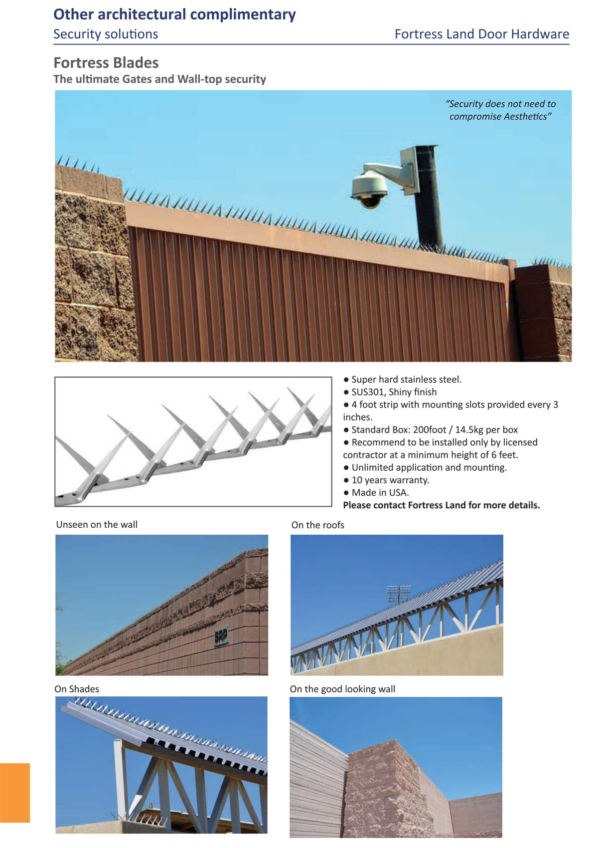 stainless steel fence blade, stainless steel grade blade, fence blade made in USA, fortress blade, high quality blade USA, wall blade, bird spike, fence protection, Fortress Land Security Company Yangon, Myanmar