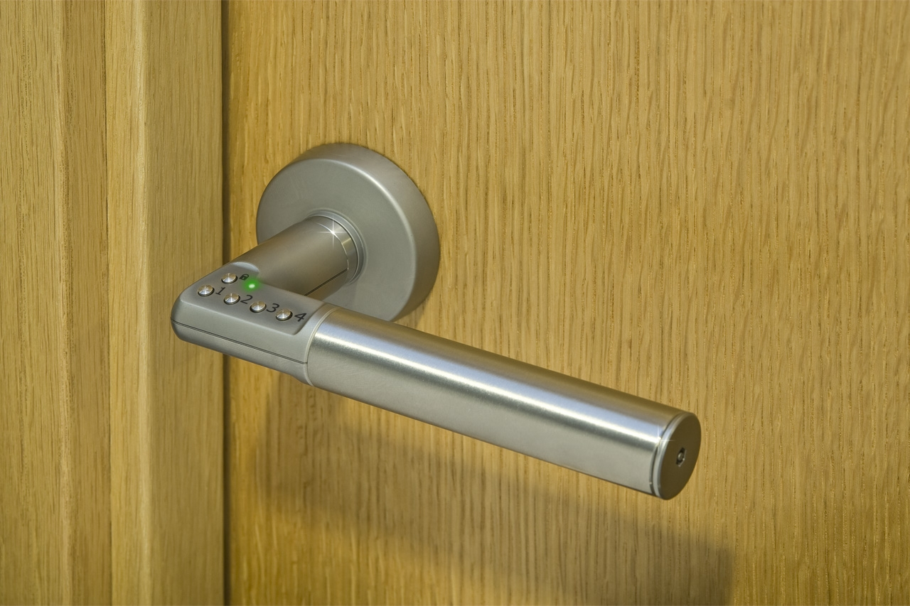 Security lever handle, bed room lock, bed room lever handle, code handle, digital door lock, interior door security, interior door lock, Fortress Land Security Company