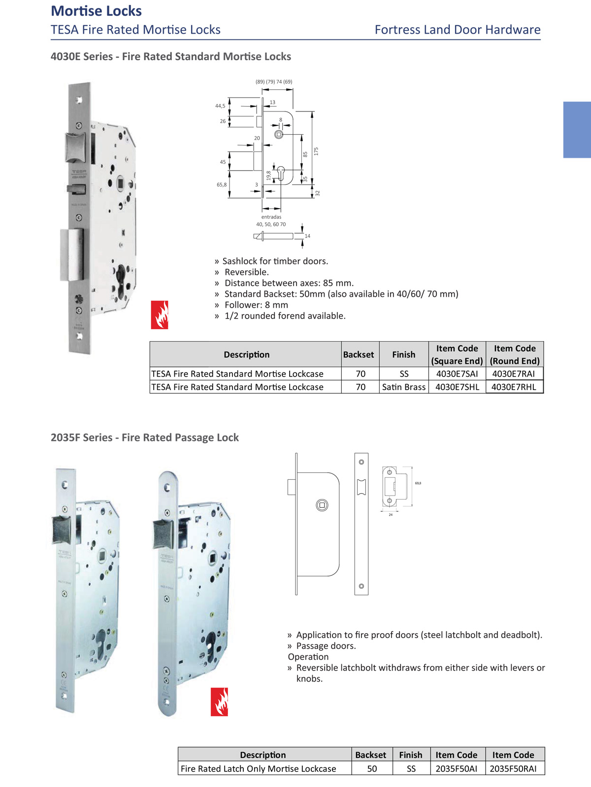 fire proof door lock, fire rated mortise lock, fire door lock, automatic deadlock, passage lock, deadbolt lock, latch lock, Fortress Land Security Company