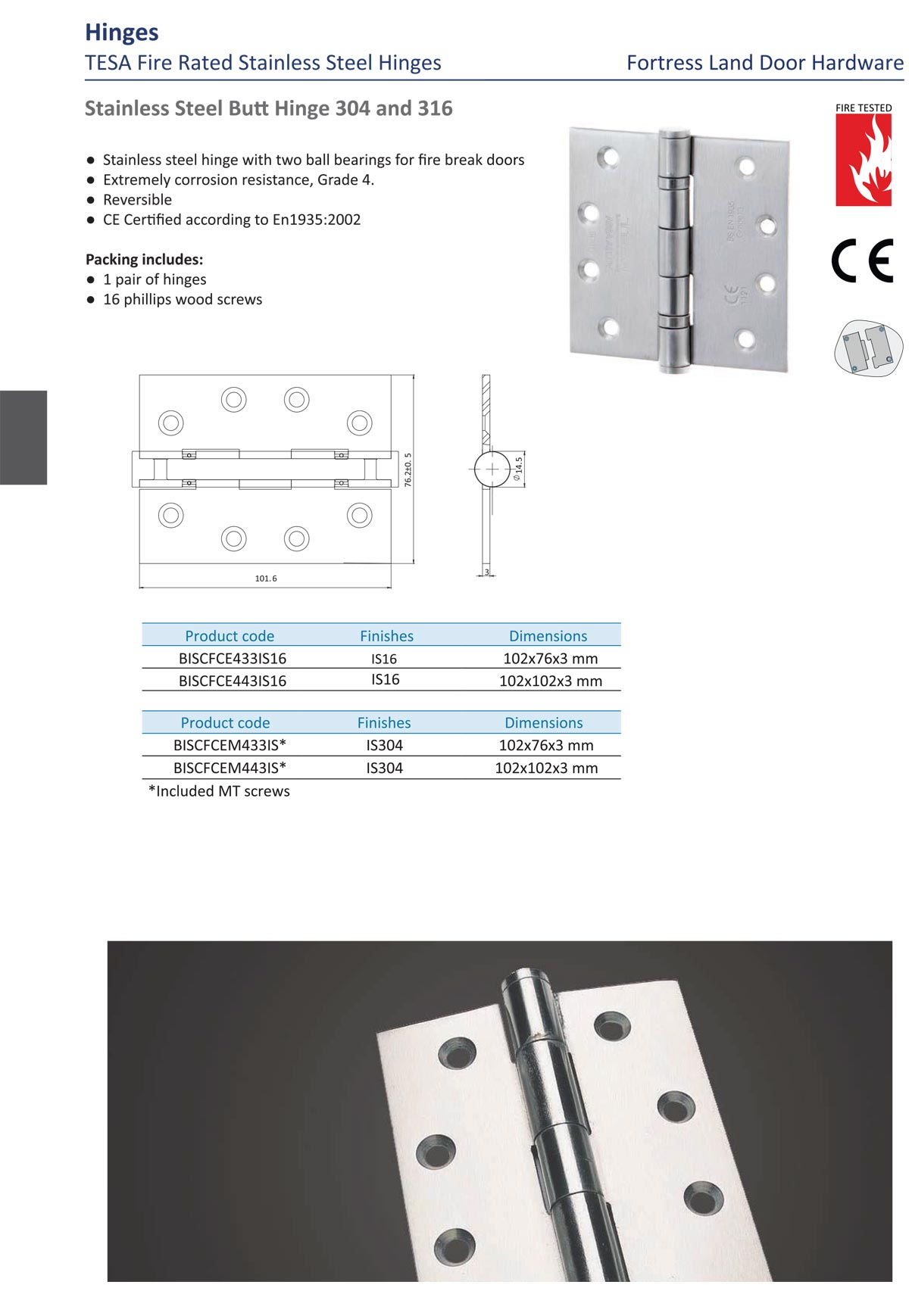 fire rated hinges, butt hinges, stainless steel hinge, 304 hinge, 316 hinge, weather proof hinge, door hinge myanmar, ASSA ABLOY Hinge, Fortress land Security Company, Yangon, Myanmar